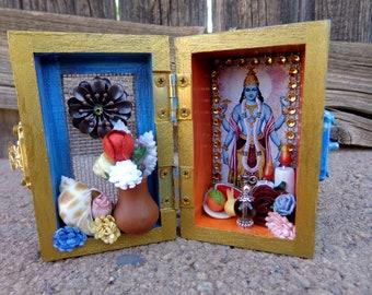 Vishnu Mini Box Shrine. Miniature Nicho.  Travel Altar. Shadow Box. Mixed Media Altered Art.