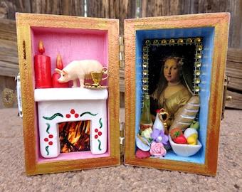 Hestia Box Shrine. Miniature Nicho.  Travel Altar. Vesta. Shadow Box. Mixed Media Altered Art.