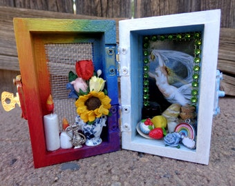 Iris Mini Box Shrine. Miniature Nicho.  Travel Altar. Shadow Box.  Shadow Box. Mixed Media Altered Art.