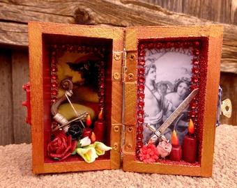 Amazon Mini Box Shrine. Miniature Nicho.  Travel Altar. Shadow Box. Shadow Box. Mixed Media Altered Art.