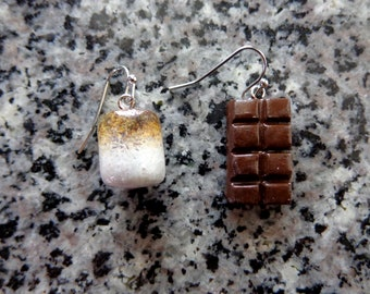 Handmade Hand painted Smore Chocolate Marshmallow Mismatched Earring. Food. Foodie. Quirky. Polymer Clay. Cottage core. Fish Hook.