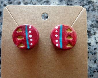 Red Geometric stud earrings. Floral. Henna. Metallic. Handmade. Hand Painted.