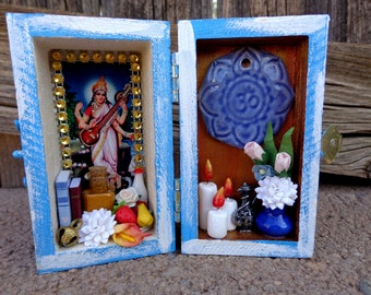 Saraswati Mini Box Shrine. Miniature Nicho.  Travel Altar. Shadow Box. Mixed Media Altered Art.