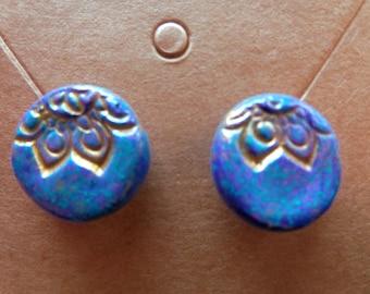 Purple stamped polymer clay stud earrings. Floral. Henna. Metallic. Handmade. Hand Painted.