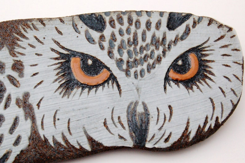 Ceramic Owl Wall Hanging  Porcelain Sgraffito Owl Wall Art  image 0