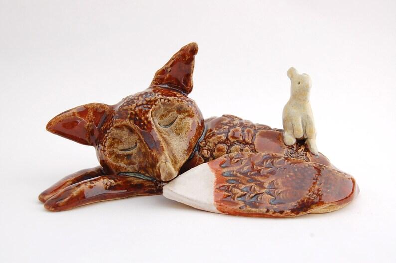 Red Fox Blonde Bunny Ceramic Figurine  Woodland Pair image 0