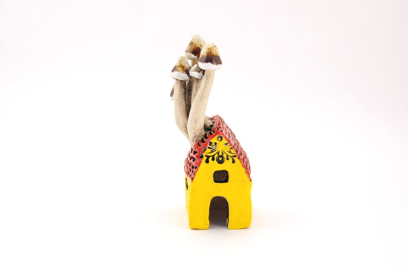 Ceramic Sprouting Mushroom House  Tiny Garden Art Fairy image 0