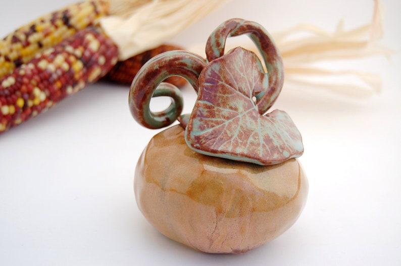 Ceramic Pumpkin Sculpture  Holiday Harvest Table Decor  image 0