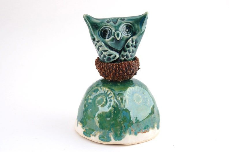 Ceramic Mixed Media Owl Sculpture  Acorn Cap Owlet Nestling  image 0