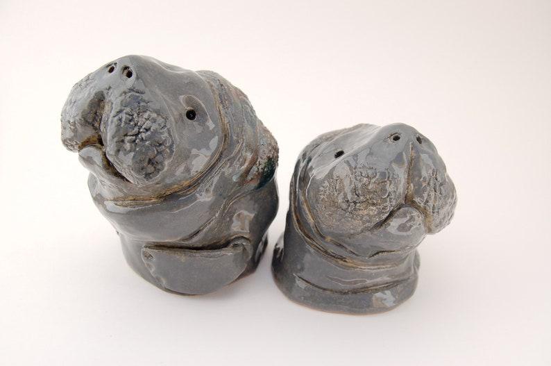 Ceramic Manatee Salt And Pepper Shakers  Sea Cow Sculpture image 0