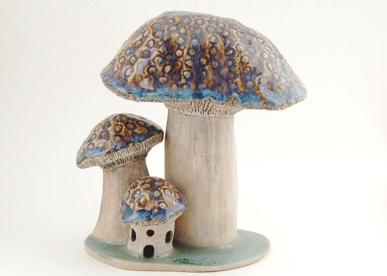 Ceramic Mushroom Fairy House Sculpture  Garden Art Decor  image 0