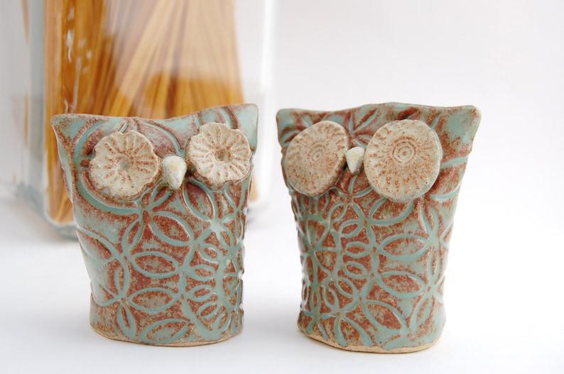 Owl Salt and Pepper Shakers  Hand Built Ceramic Owl Pair  image 0