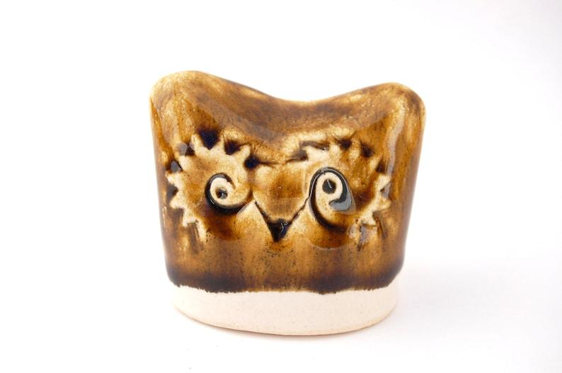 Ceramic Owl Sculpture  Hand Built Rustic Stoneware Raptor  image 0