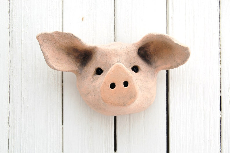 Mini Ceramic Pig Head Wall Hanging  Stoneware Pinched Clay image 0