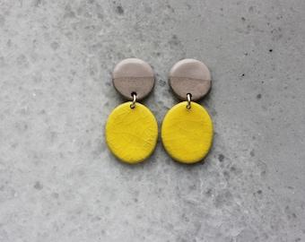 Yellow gray and cream porcelain geometric dangle earrings, geometric earrings, statement jewelry, statement earrings