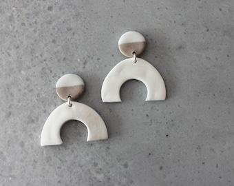 white and gray porcelain geometric dangle earrings, geometric earrings, white curve earrings, statement jewelry