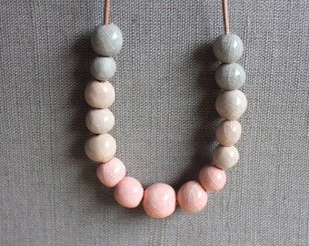 Fading pink to gray porcelain necklace