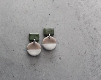 Small olive green, beige cream and white geometric porcelain dangle earrings, geometric earrings