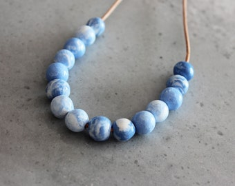 blue and white handmade marble porcelain necklace