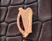 Irish harp. Handcrafted cut coin lapel pin Recycled circulated Ireland coin jewelry