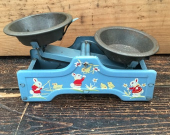 Vintage English Tin Toy Scales - Chad Valley - Made in England - Bunnies and Chicks - Nursery Decor - Vintage Nursery