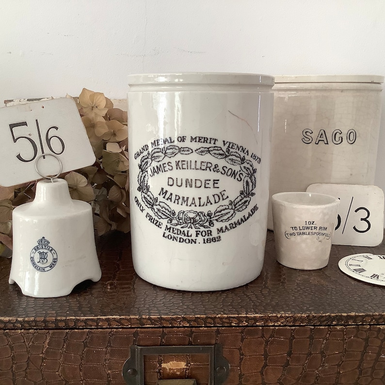 2lb Antique Stoneware Marmalade Jar  James Keiller & image 0