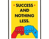 Yellow Motivational Quote Knuckle Tattoo Poster - Success And Nothing Less - A3