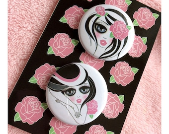 1.5 pinback button pack with my digital illustration (2 buttons)