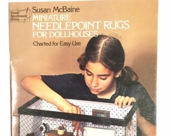 Miniature Needlepoint Rug for Dollhouses by Susan McBaine