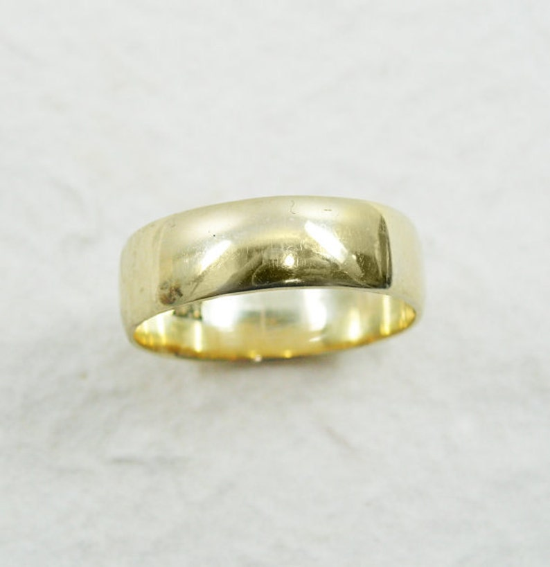 14k yellow gold wedding ring 6mm wedding ring Classic wedding ring solid gold band Rounded wedding ring Wide wedding ring