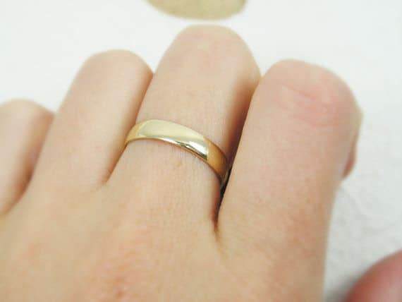 Men Wedding Ring 4mm Width Rounded Wedding Band 14k Yellow Etsy