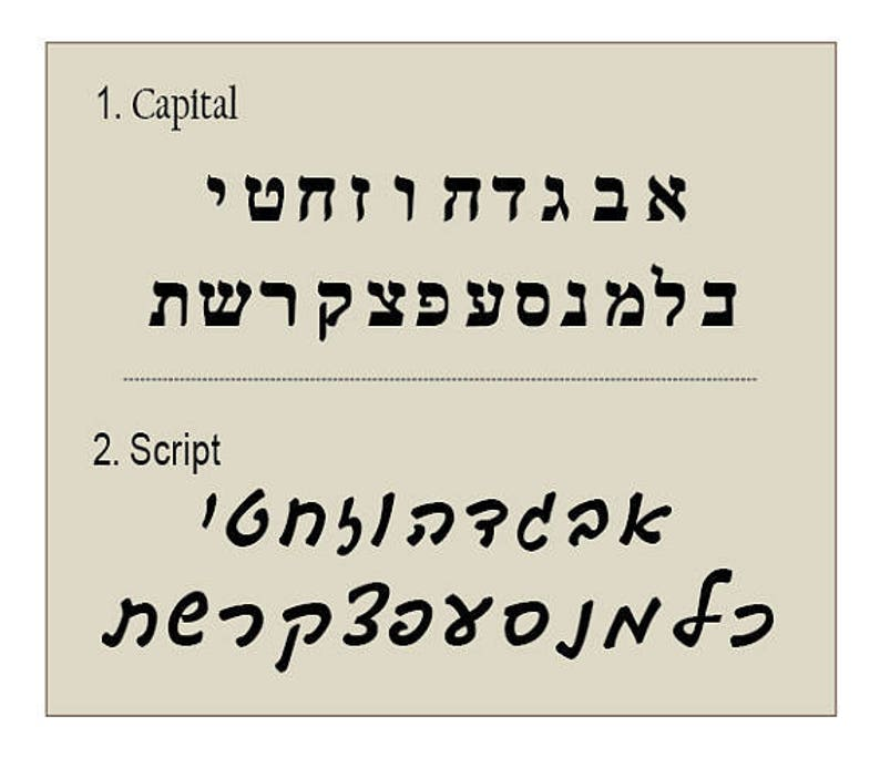 Hebrew Font samples- not for sale!