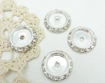4 channel set rhinestone bezel settings for jewelry or button is silver tone base metal 20MM