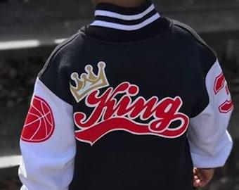 Personalized Kids Varsity Jacket Made In Canada - Toddler Letterman Jacket - Custom Infant Gift - Christmas Gift Idea - Baby Boy Infant Coat