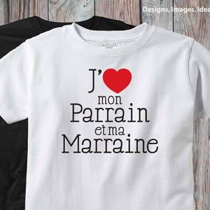 Parrains fran\u00e7ais Cadeau de b\u00e9b\u00e9 Godparents fran\u00e7ais Design J/'aime mon Parrain et ma Marraine Bodysuit T-shirt Marraine et Parrain