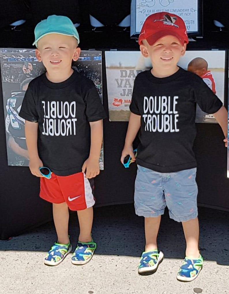 Twin Girls/' Twin Shirts Double Trouble Twin Boys Shirts Double Trouble Twin Clothing Funny Twin Shirts Urban Twin Clothing