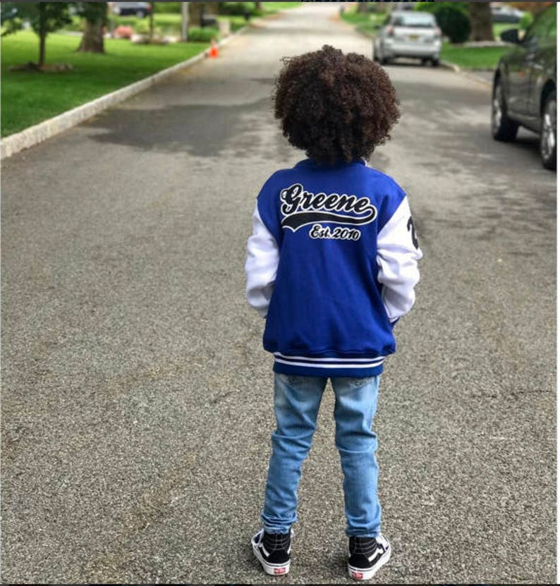 5e3c38d0356 Custom Personalized Toddler Kids Youth Varsity Jacket Made In | Etsy
