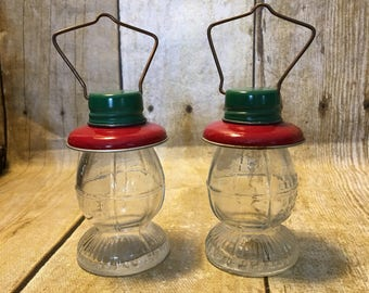 Vintage Railroad Lantern Candy Containers, Set of Two,  T.H. Stough Co, Jeannetta PA,  1/2 oz. Glass Candy Container