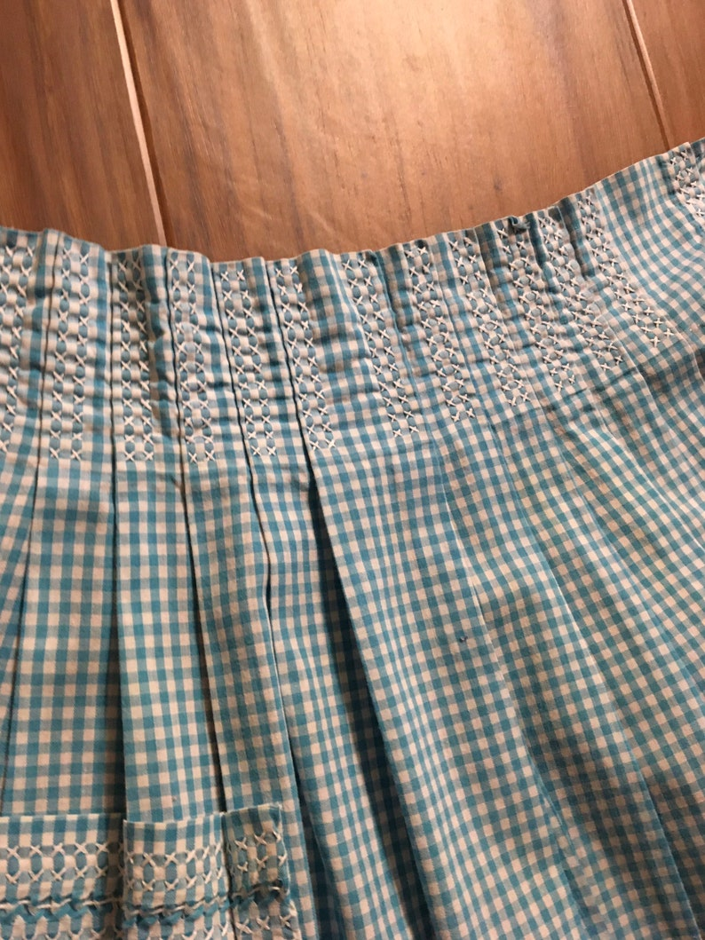 Vintage Apron Vintage Handmade Light Blue and White Gingham Half Apron Cross Stitched Accents
