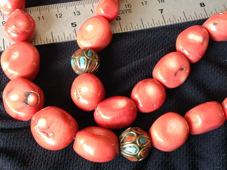 Nepal necklace Coral and silver beads.