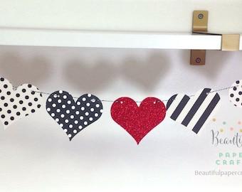 b982f4f87 Valentine's Day Decor    Black and White Hearts Garland    Valentine  Garland    Heart Banner    Valentine Photo Prop    Paper Heart Garland