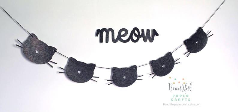 1st Birthday Banner Black Glitter Cat Garland Cat Birthday Party Decor Meow Garland Cat Themed Party Kitty Cat Birthday
