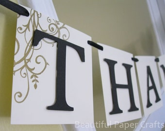 THANK YOU Wedding Banner  -Black and Gold  Wedding Decorations - Photo Props - Custom Colors - Wedding Sign -Banners
