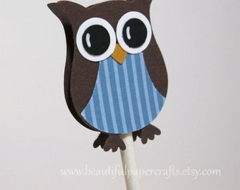 Owl Cupcake Toppers | Owl Baby Shower Decorations..set of 12
