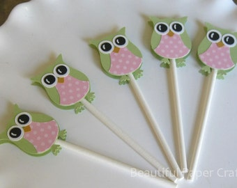 Pink and Green Owl Cupcake Toppers | Owl Baby Shower Decorations..set of 12