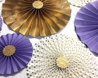 Lavender and Gold Glitter | Gold Rosette Backdrop | Purple and Gold Party | Paper Fans | Candy Buffet Decor | Purple and Gold Paper Rosettes