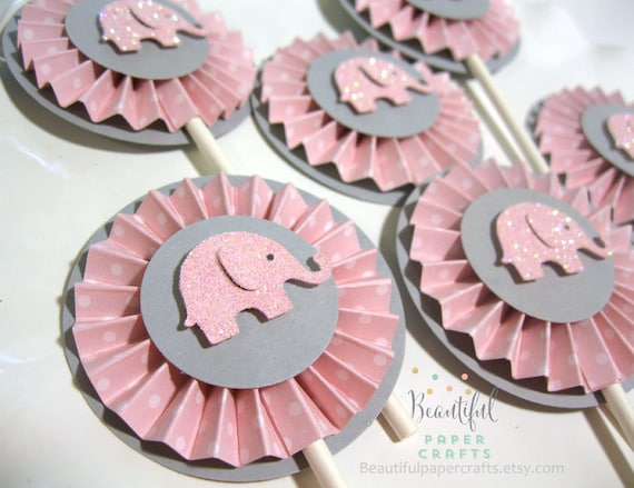 Elephant Baby Shower Pink And Gray Elephant Cupcake Toppers Elephant Baby Shower Decorations Pink Chevron And Gray 1st Birthday 12ct
