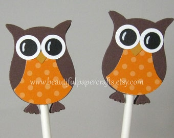 Owl Cupcake Toppers- Owl Baby Shower Decorations - Owl Birthday Party..set of 12
