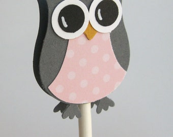 Owl Cupcake Toppers Gray and Pink - Owl Baby Shower Decorations-Owl Party Decorations-Set of 12