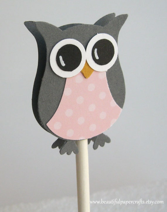 Owl Cupcake Toppers Gray And Pink Owl Baby Shower Etsy